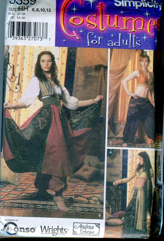 Simplicity 5359 Women's Belly Dancing or Gypsy Inspired Costume Pattern UNCUT