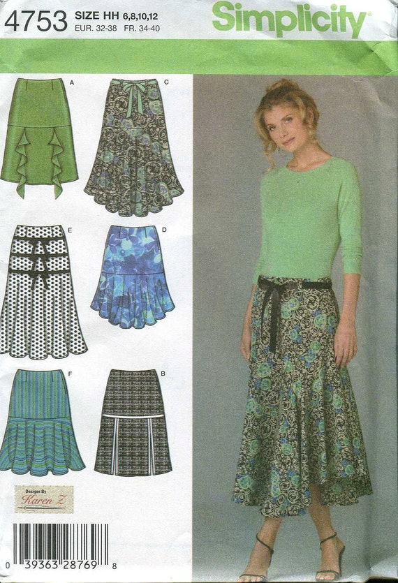Simplicity 4753 Flounced Skirt pattern from Karen Z - UNCUT