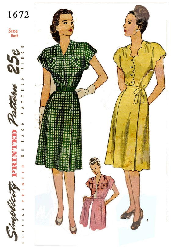 Simplicity 1672 Vintage 40s Wrap Dress pattern with optional scallop edges - Rare larger size