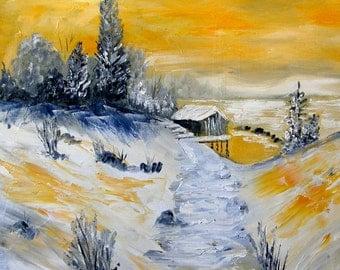 Winter Sunset  -    Original Oil Winterscape on canvas