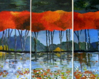 Red  -    Original Abstract Landscape Acrylic Paintings