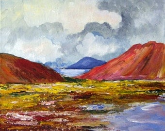 Red Mountains - Original Acrylic Textured Landscape Painting