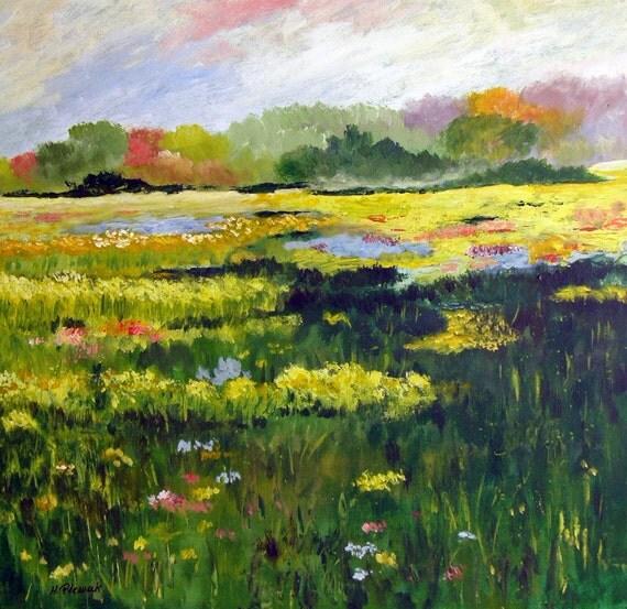 Impression of Summer - Original Acrylic Landscape Impressionism on Canvas
