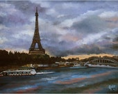 Original Eiffel Tower Oil Painting - 12x9in Paris Painting