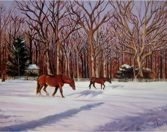 Winter Horses Original Oil Painting - 18x14in On Sale