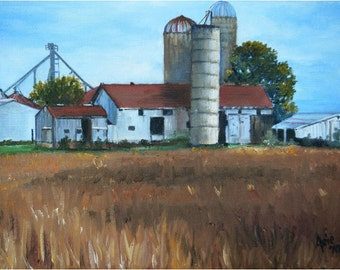 American Farm Painting - 12x9in Original Oil On Sale
