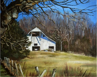 White Tennessee Barn Painting- 10x8in Art Print
