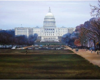 Capitol Mall Original Large Oil Painting - 48x24in On Sale