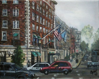 Boston Cityscape Original Oil Painting - 10x8in