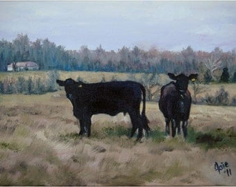 Country Cattle Original Oil Painting- 12x9in