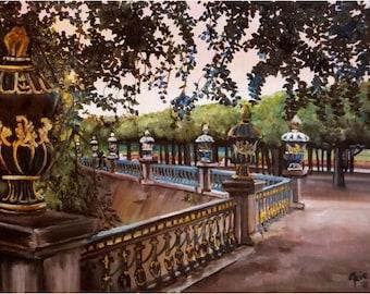 German Garden - 16x12in Original Oil Painting