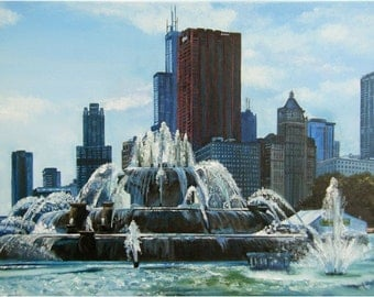 """Chicago Skyline City Painting - 24x18"""" in Giclee Print"""