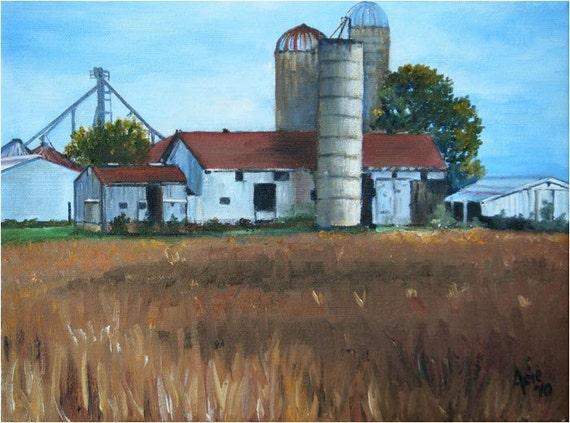 American Farm Painting - 12x9in Original Oil On Sale