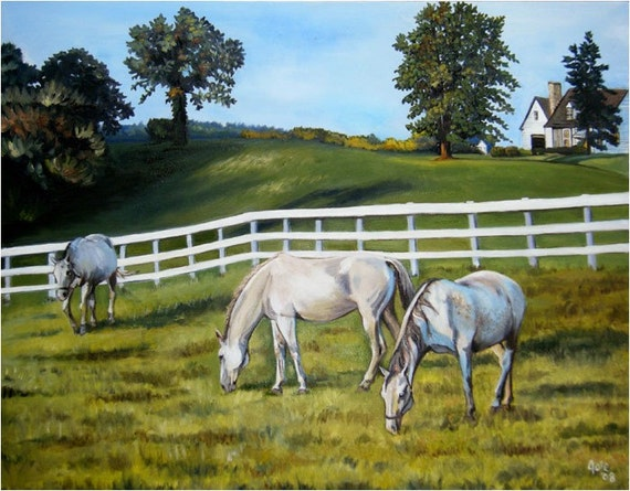 Grazing Horses Painting - 10x8in Mini Giclee Print