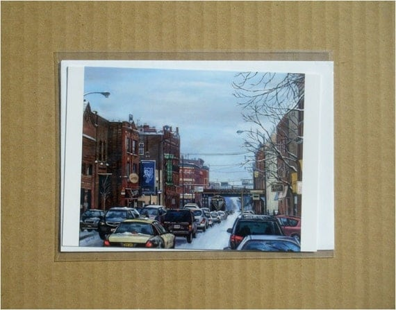Realistic City Painting, Bucktown Chicago Blank Notecard