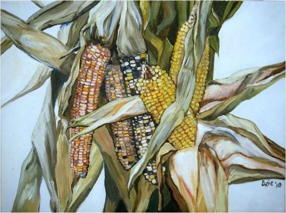 Harvest Corn Still Life Painting - 16x12in Original Oil
