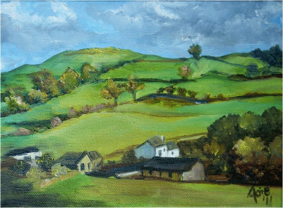 English Landscape Painting - 8x6in Original Oil