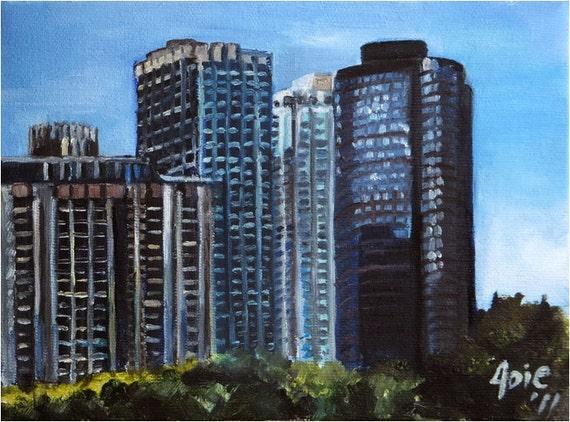 Plein Air Chicago Skyline - 8x6in Original Oil Painting On Sale