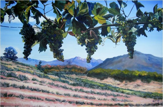 Vineyard Oil Painting Kitchen Art -18x12in Giclee Print
