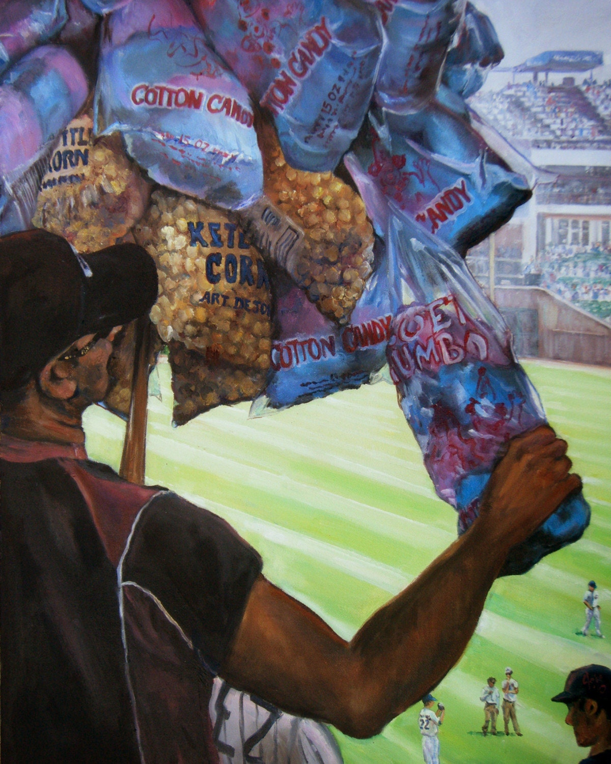 Baseball Oil Painting 14x18in Giclee Print