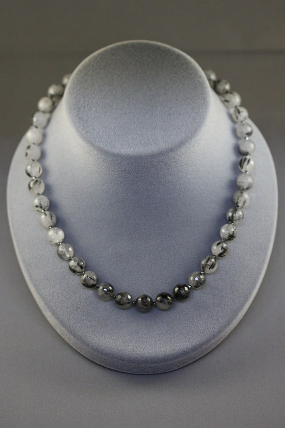 Micro-Faceted Rutilated Quartz and Hematite Necklace with Matching Earrings