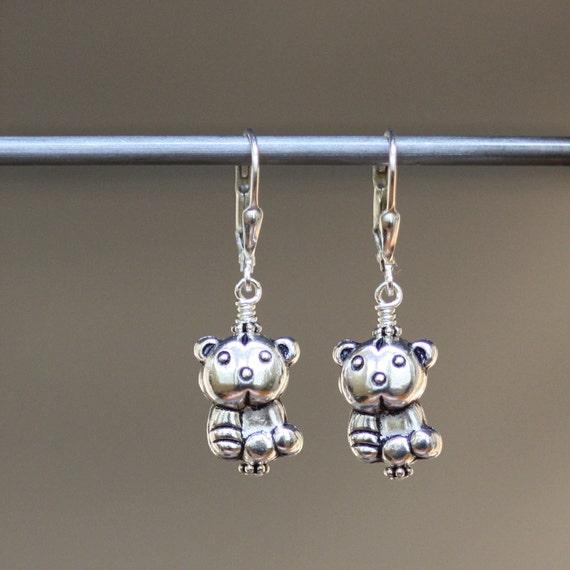 Silver Teddy Bear Charm Earrings