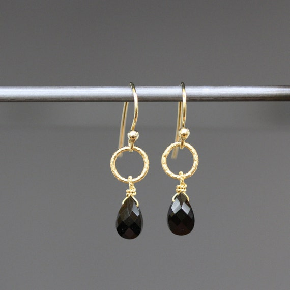 Jet Black Onyx Faceted Teardrop Earrings with 14k Gold Vermeil Links