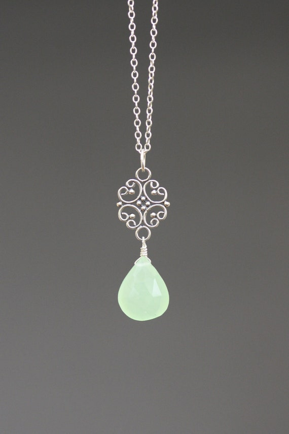 Faceted Mint Green Chalcedony Teardrop Pendant with Bali Silver Link