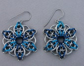 Chainmaille earrings--blue Celtic visions star in anodized aluminum