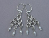 Custom order for Yvonne Chain maille chandelier earring sterling silver Japanese with crystals