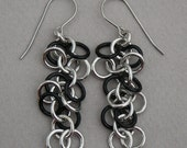Silver and black anodized aluminum fringe dangle chainmaille earrings