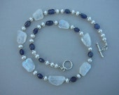 Moonstone iolite freshwater pearl sterling silver necklace