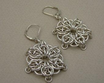 Chain maille earrings sterling silver star flower snowflake earrings