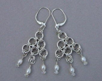 Chain maille chandelier earring sterling silver Japanese with freshwater pearls and crystals