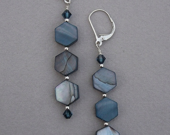 Blue mother-of-pearl and Swarovski crystal earrings