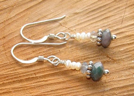 Supreme Nurturer - Sterling Silver, Labradorite, Pearl and Fancy Jasper earrings