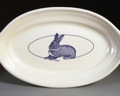 Oval Serving Dish with Cottontail Rabbit