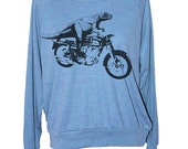 Womens DINOSAUR MOTORCYCLE Tri Blend Pullover -- american apparel S M L -- (5 Color Options)