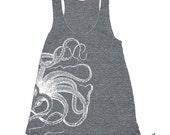 Womens OCTOPUS TANK TOP--- american apparel Tri-Blend Racerback S M L (8 Color Options) grey z