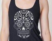 SKULL Tank Top - day of the dead women's American printed apparel Tri-Blend  S M L (8 Colors) skip n whistle