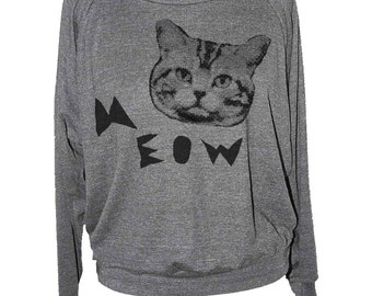 Womens CAT SWEATSHIRT -- Meow face long sleeve raglan pullover american apparel S M L -- (5 Color Options) skip n whistle