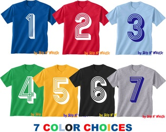 BIRTHDAY -- KIDS T shirt -- soccer number 3 Size 2t, 3t, 4t, youth xs, yth sm, yth med, yth lg ( 7 COLORS ) skip n whistle