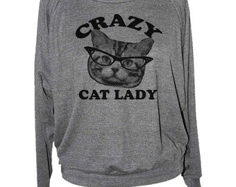 CAT Lady SWEATSHIRT raglan pullover long sleeve shirt -- american apparel S M L -- (5 Color Options) skip n whistle