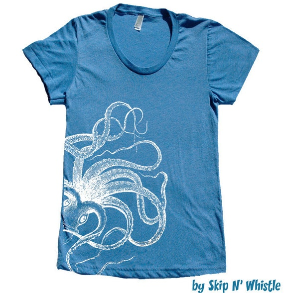 Womens OCTOPUS royal -- american apparel t shirt S M L XL  ( 4 colors ) skip n whistle