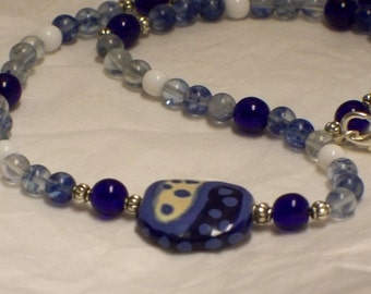 Shades of blue Kazuri necklace