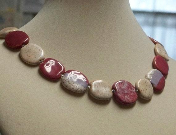 Kazuri pink and cream collar necklace
