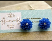 Dahlia Blue Resin Flower Stud Earrings with Swarovski- Tailgate Traditions Collection by Courtney Lee Designs