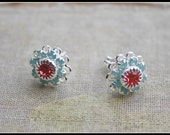 SALE...Swarovski Flower Stud Earrings-Pacific Opal and Padparadscha-Mint and Opal Bridesmaid Gift Everyday Earrings