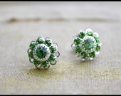SALE...Swarovski Flower Stud Earrings-Peridot and Chrysolite Sterling Silver Bridesmaid Jewelry Everyday Studs