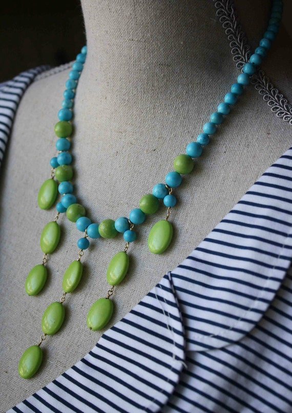 Turquoise Necklace-Lime and Turquoise Chalk Magnesite Necklace- 14k Gold Fill